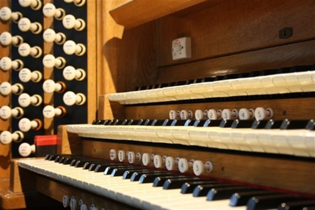 A close-up of the organ keyboard at St Mary's.
